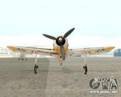 Focke-Wulf FW-190 F-8 para GTA San Andreas vista hacia atrás