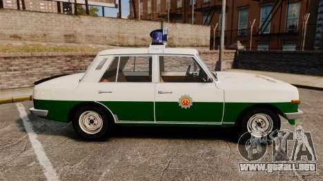 Wartburg 353 W Deluxe Polizei para GTA 4 left