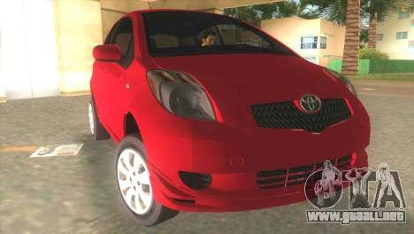 Toyota Yaris para GTA Vice City vista posterior