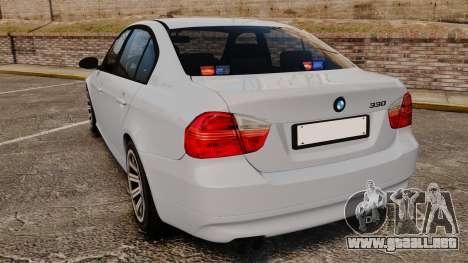 BMW 330i Unmarked Police [ELS] para GTA 4 Vista posterior izquierda