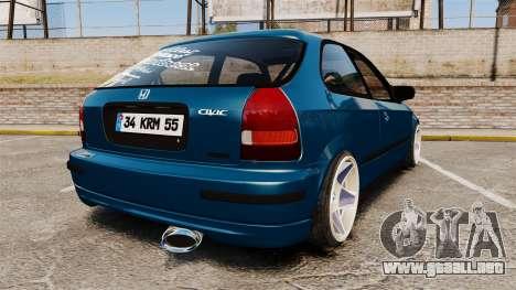Honda Civic EK para GTA 4 Vista posterior izquierda