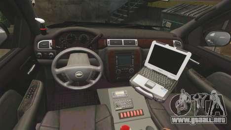 Chevrolet Tahoe 2008 Federal Signal Valor [ELS] para GTA 4 vista hacia atrás