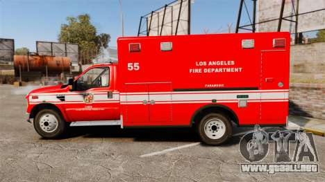 Ford E-350 LAFD Ambulance [ELS] para GTA 4 left