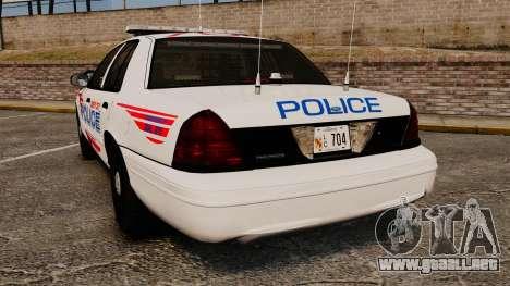 Ford Crown Victoria 2008 LCPD Patrol [ELS] para GTA 4 Vista posterior izquierda