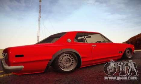 Nissan Skyline 2000GTR 1967 Hellaflush para GTA San Andreas vista hacia atrás