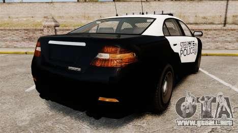 GTA V Vapid Steelport Police Interceptor [ELS] para GTA 4 Vista posterior izquierda