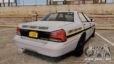 GTA V Vapid Police Cruiser Scheriff [ELS] para GTA 4 Vista posterior izquierda