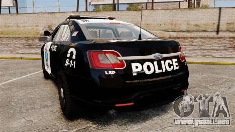 Ford Taurus Liberty State Police para GTA 4 Vista posterior izquierda