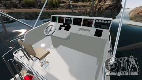 Sport fishing yacht para GTA 4 vista interior