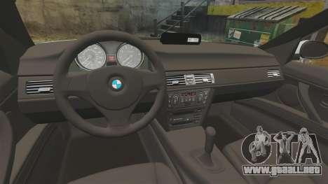 BMW 330i Unmarked Police [ELS] para GTA 4 vista hacia atrás