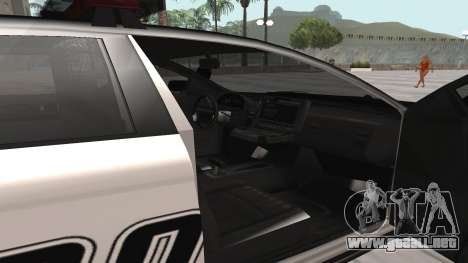 GTA V Police Cruiser para GTA San Andreas vista posterior izquierda
