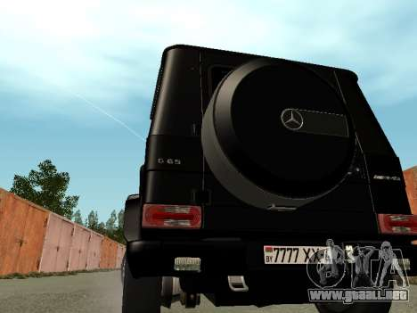 Mercedes-Benz G65 AMG para GTA San Andreas vista posterior izquierda