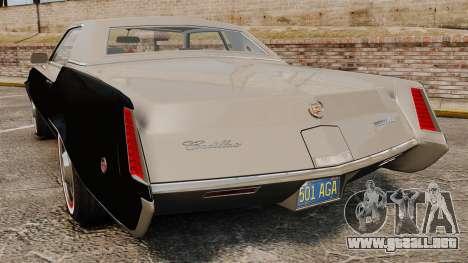 Cadillac Eldorado Coupe 1969 para GTA 4 Vista posterior izquierda