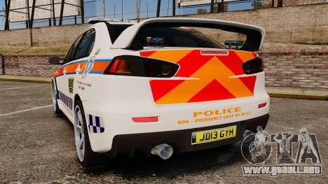 Mitsubishi Lancer Evo X Humberside Police [ELS] para GTA 4 Vista posterior izquierda