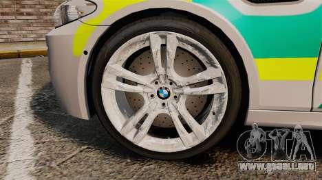 BMW M5 Ambulance [ELS] para GTA 4 vista hacia atrás