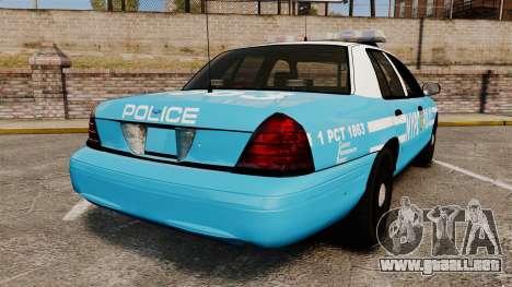 Ford Crown Victoria NYPD [ELS] para GTA 4 Vista posterior izquierda