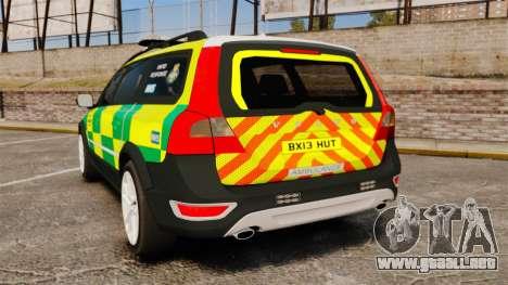 Volvo XC70 Paramedic [ELS] para GTA 4 Vista posterior izquierda