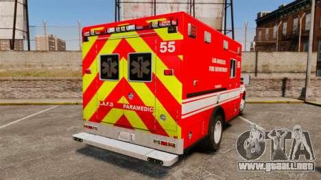 Ford E-350 LAFD Ambulance [ELS] para GTA 4 Vista posterior izquierda