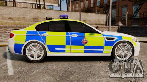 BMW M5 Greater Manchester Police [ELS] para GTA 4 left