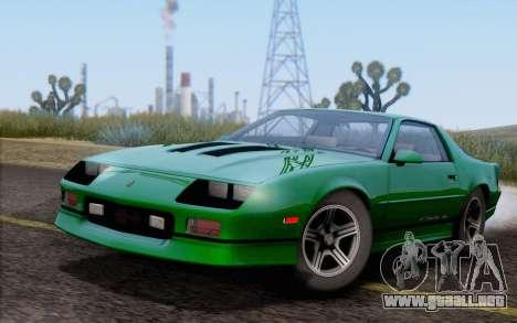 Chevrolet Camaro IROC-Z 1990 para GTA San Andreas vista hacia atrás