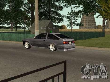 Toyota Corolla GTS Drift Edition para la visión correcta GTA San Andreas