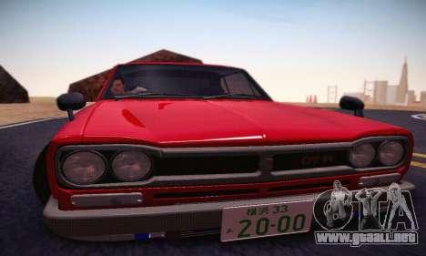 Nissan Skyline 2000GTR 1967 Hellaflush para vista inferior GTA San Andreas
