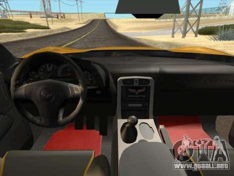 Chevrolet Corvette Z06 2006 v2 para GTA San Andreas vista hacia atrás