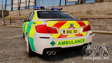 BMW M5 Ambulance [ELS] para GTA 4 Vista posterior izquierda