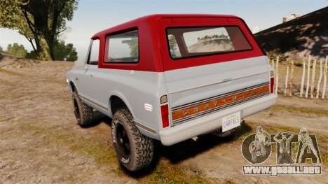 Chevrolet K5 Blazer para GTA 4 Vista posterior izquierda