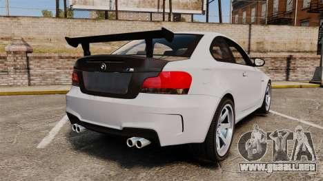 BMW 1M 2014 para GTA 4 Vista posterior izquierda