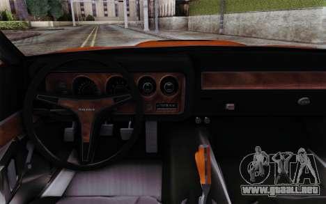 Dodge Charger 1971 Super Bee para la visión correcta GTA San Andreas