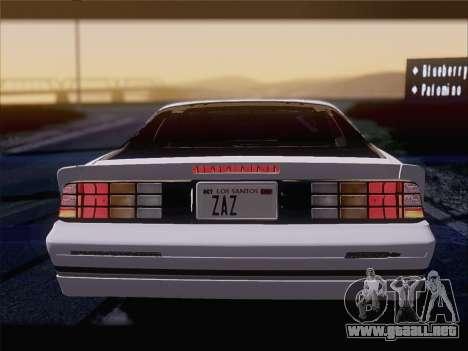 Chevrolet Camaro IROC-Z 1990 para el motor de GTA San Andreas