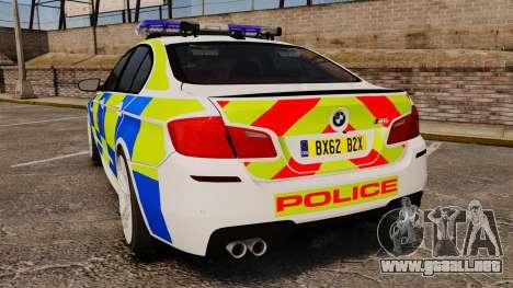 BMW M5 Greater Manchester Police [ELS] para GTA 4 Vista posterior izquierda