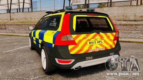Volvo XC70 Police [ELS] para GTA 4 Vista posterior izquierda