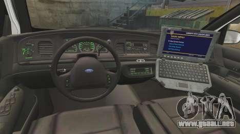 Ford Crown Victoria 1999 Florida Highway Patrol para GTA 4 vista hacia atrás