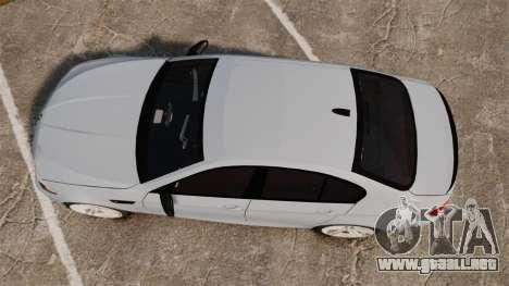 BMW M5 Unmarked Police [ELS] para GTA 4 visión correcta