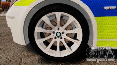 BMW M5 E60 City Of London Police [ELS] para GTA 4 vista hacia atrás