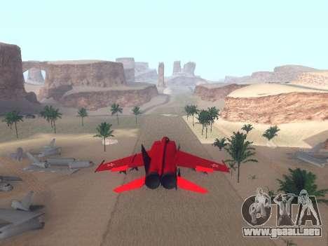 MiG 25 para GTA San Andreas vista posterior izquierda