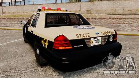 Ford Crown Victoria 1999 Florida Highway Patrol para GTA 4 Vista posterior izquierda