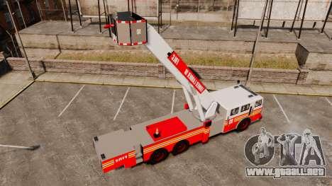 MTL Firetruck Tower Ladder [ELS-EPM] para GTA 4 vista hacia atrás
