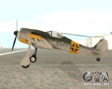 Focke-Wulf FW-190 F-8 para GTA San Andreas left