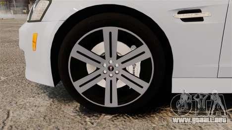 Pontiac G8 Sport Truck 2010 para GTA 4 vista hacia atrás
