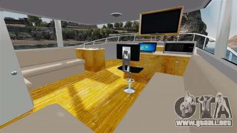 Sport fishing yacht para GTA 4 vista hacia atrás