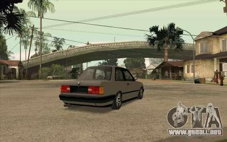 BMW E30 Stance para GTA San Andreas vista posterior izquierda