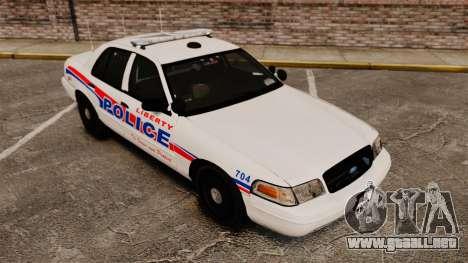 Ford Crown Victoria 2008 LCPD Patrol [ELS] para GTA 4 vista hacia atrás