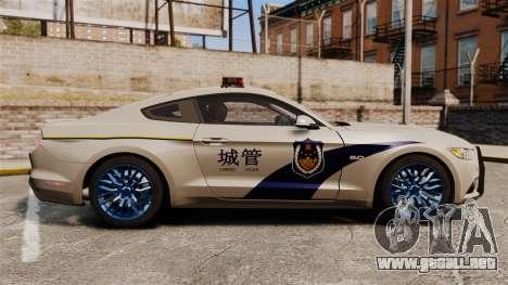 Ford Mustang GT 2015 Cheng Guan Police para GTA 4 left