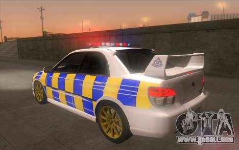 Subaru Impreza 2006 WRX STi Police Malaysian para GTA San Andreas left
