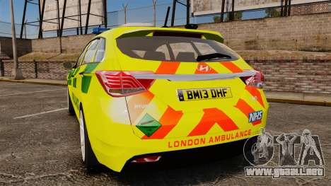Hyundai i40 Tourer [ELS] London Ambulance para GTA 4 Vista posterior izquierda