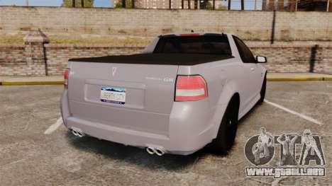 Pontiac G8 Sport Truck 2010 para GTA 4 Vista posterior izquierda