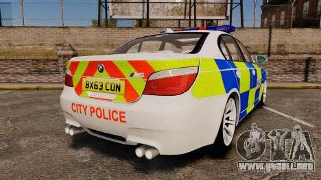 BMW M5 E60 City Of London Police [ELS] para GTA 4 Vista posterior izquierda